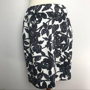 New Ann Taylor Floral Print Textured Cotton Skirt